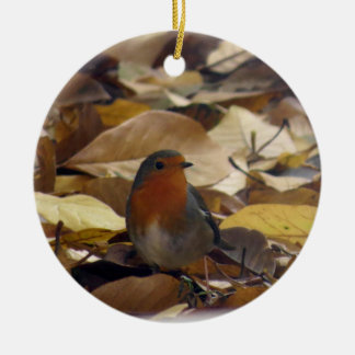 Robin in leaves christmas ornament