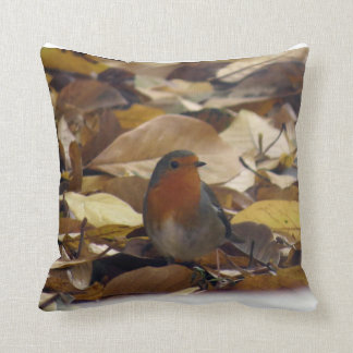 Robin in leaves cushion