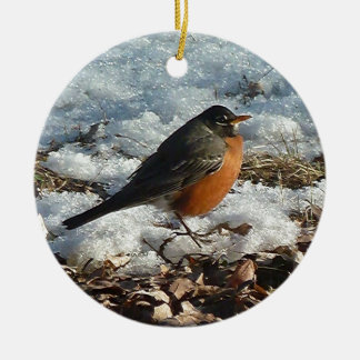 Robin In Snow Christmas Ornament