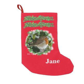 Robin in Snow Small Christmas Stocking