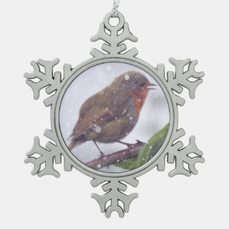 Robin in Snow Snowflake Pewter Christmas Ornament