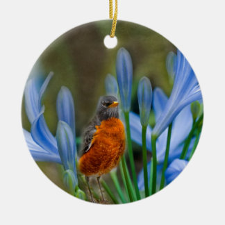 Robin in Spring Flowers Christmas Ornament
