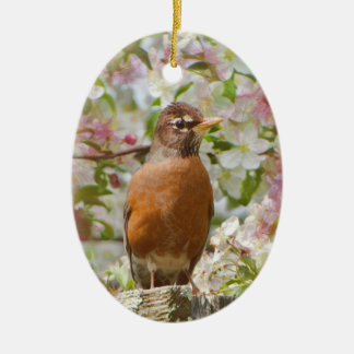 Robin in spring oval ornament