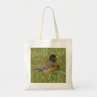 Robin in the Grass Canvas Bag