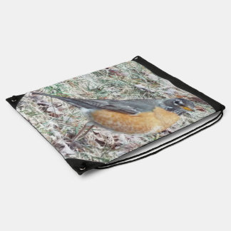 Robin in the grass drawstring Backpack