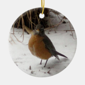 Robin in the Snow Christmas Ornament