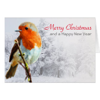 Robin in Winter Christmas Card