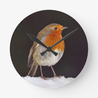 Robin in winter wall clock