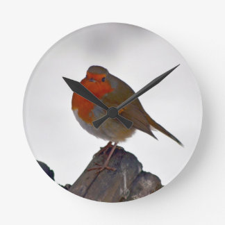 Robin in winter wall clock 3