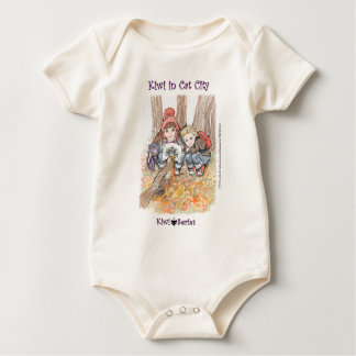 Robin, Kiwi cat and kids (Kiwi Series) Baby Bodysuit