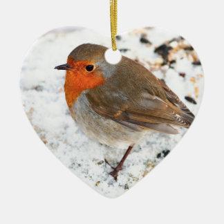 Robin on a snowy log christmas ornament