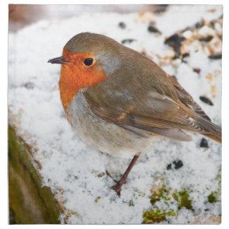 Robin on a snowy log napkin