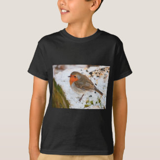 Robin on a snowy log T-Shirt
