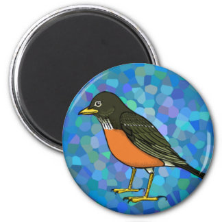 Robin on Blue Magnet