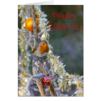 Robin on Christmas tree with tinsel Greeting Card
