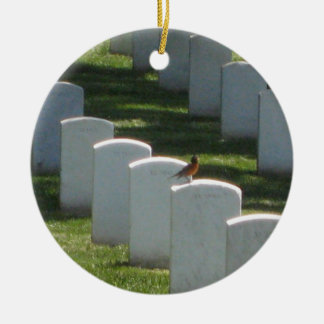 Robin on gravestone christmas ornament