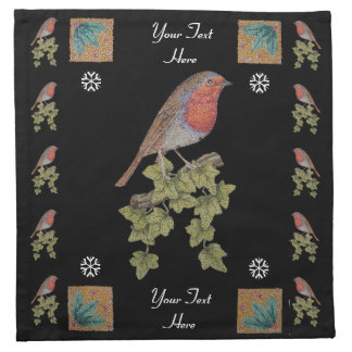 Robin on ivy leaves original seasonal art design napkin