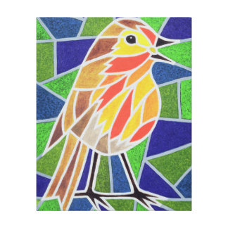 Robin on Stained Glass Canvas Print