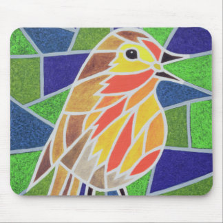 Robin on Stained Glass Mouse Pad