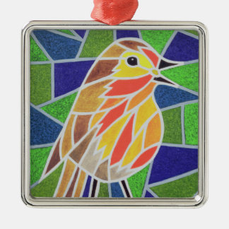 Robin on Stained Glass Silver-Colored Square Decoration