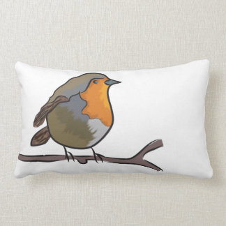 Robin perched on a pillow