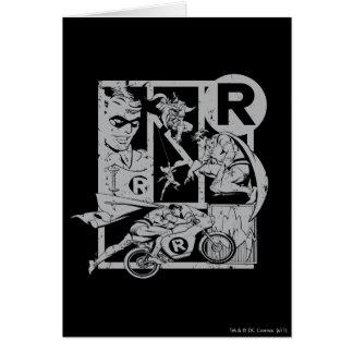 Robin - Picto Grey Greeting Card