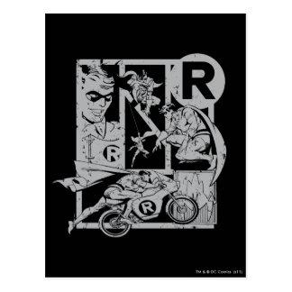 Robin - Picto Grey Postcard