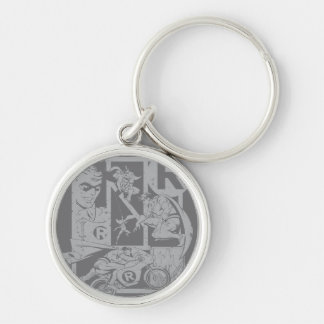 Robin - Picto Grey Silver-Colored Round Key Ring