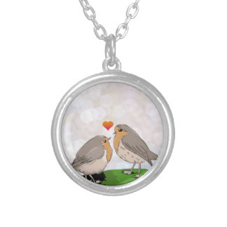 Robin red breast bird love silver plated necklace