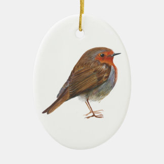 Robin Red Breast Bird Watercolor Painting Artwork Ceramic Oval Decoration