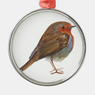 Robin Red Breast Bird Watercolor Painting Artwork Christmas Ornament