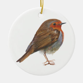 Robin Red Breast Bird Watercolor Painting Artwork Round Ceramic Decoration