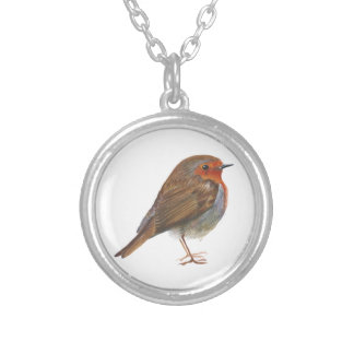 Robin Red Breast Bird Watercolor Painting Artwork Silver Plated Necklace