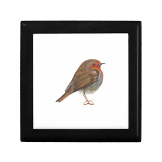 Robin Red Breast Bird Watercolor Painting Artwork Small Square Gift Box