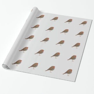 Robin Red Breast Bird Watercolor Painting Artwork Wrapping Paper