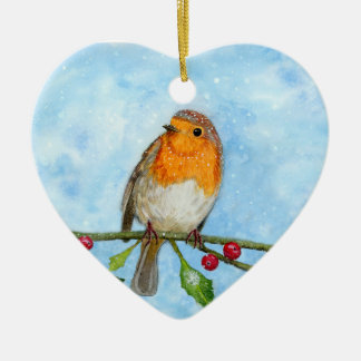 Robin Red Breast Watercolour Painting Ornament