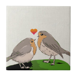 Robin redbreast bird love small square tile