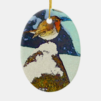 Robin Redbreast Ceramic Ornament
