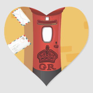 Robin Redbreast delivering a letter Heart Sticker