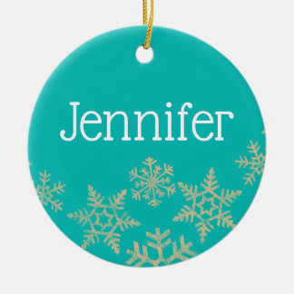 Robin's Egg Blue Custom Name with Snowflakes Christmas Ornament