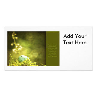 Robin s Egg on Moss with Inspirational Saying Customized Photo Card