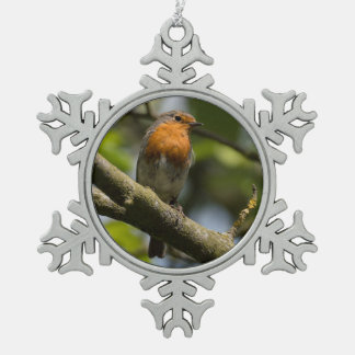 Robin Snowflake Pewter Christmas Ornament
