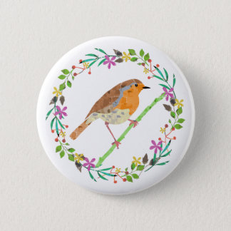 Robin the bird of Christmas 6 Cm Round Badge