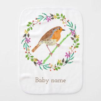 Robin the bird of Christmas Burp Cloth