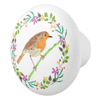 Robin the bird of Christmas Ceramic Knob