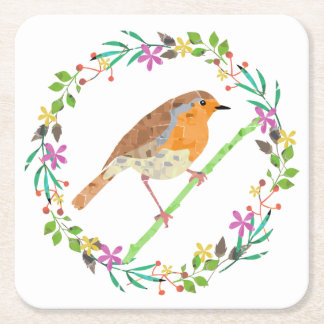 Robin the bird of Christmas Square Paper Coaster