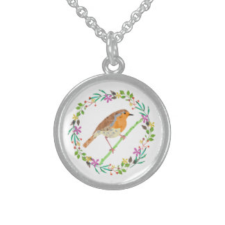Robin the bird of Christmas Sterling Silver Necklace