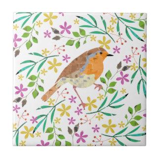 Robin the bird of Christmas Tile