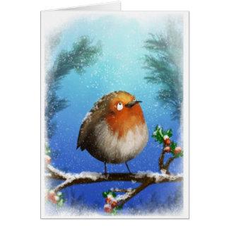 Robin under the snow card