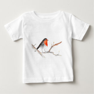 Robin watercolour painting Christmas art Baby T-Shirt